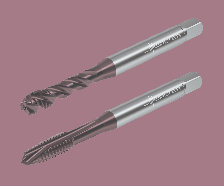 Machos roscadores para orificios ciegos TC117 y para orificios pasantes TC217, de Walter USA.