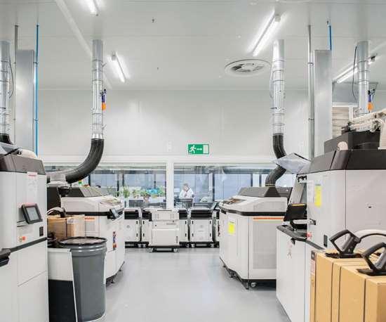 El Centro cuenta con los últimos sistemas de producción 3D de plásticos y metales de HP. Crédito: HP.