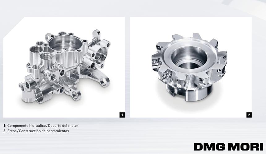 Componentes mecanizados en lafresadora universal compacta para el mecanizado simultaneo en 5 ejes de 3ra generación, de DMG MORI.
