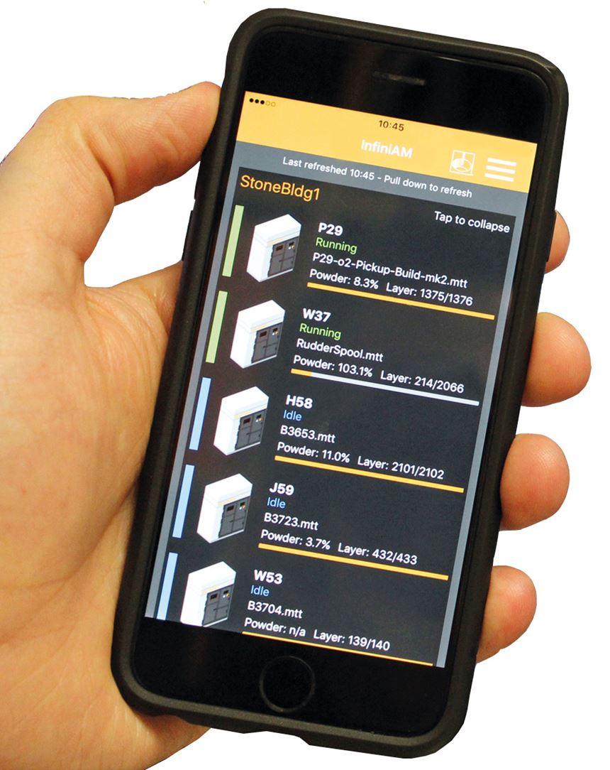 Renishaw creó el InfiniAM Central, un software que permite realizar un seguimiento prácticamente en tiempo real de la fabricación de las piezas en las máquinas de manufactura aditiva, con acceso al histórico de construcciones para su análisis.