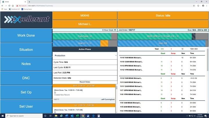 A medida que evoluciona el sistema de monitoreo de máquina y el uso que de él hace el taller, los datos se vuelven más detallados. Un ejemplo que los operadores aprecian es asegurar que los descansos estipulados (café o comida, por ejemplo) se tengan en cuenta en la barra de ritmo, que es visible en esta captura de pantalla.