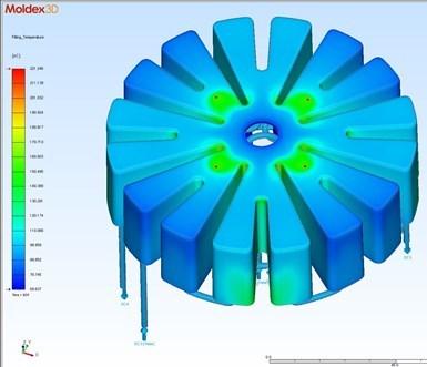 MoldEx3D muestra cómo el circuito de enfriamiento conformacional afectará al plástico fundido.