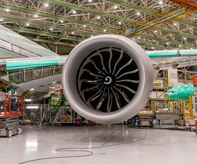 Los motores del Boeing 777x, fabricados por GE Aviation, tienennumerosos componentes fabricados mediante manufactura aditiva. Foto:Boeing 777x.