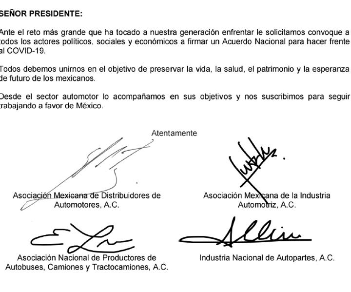Aparte del comunicado de las asociaciones de la industria automotriz enviado al Presidente de México.
