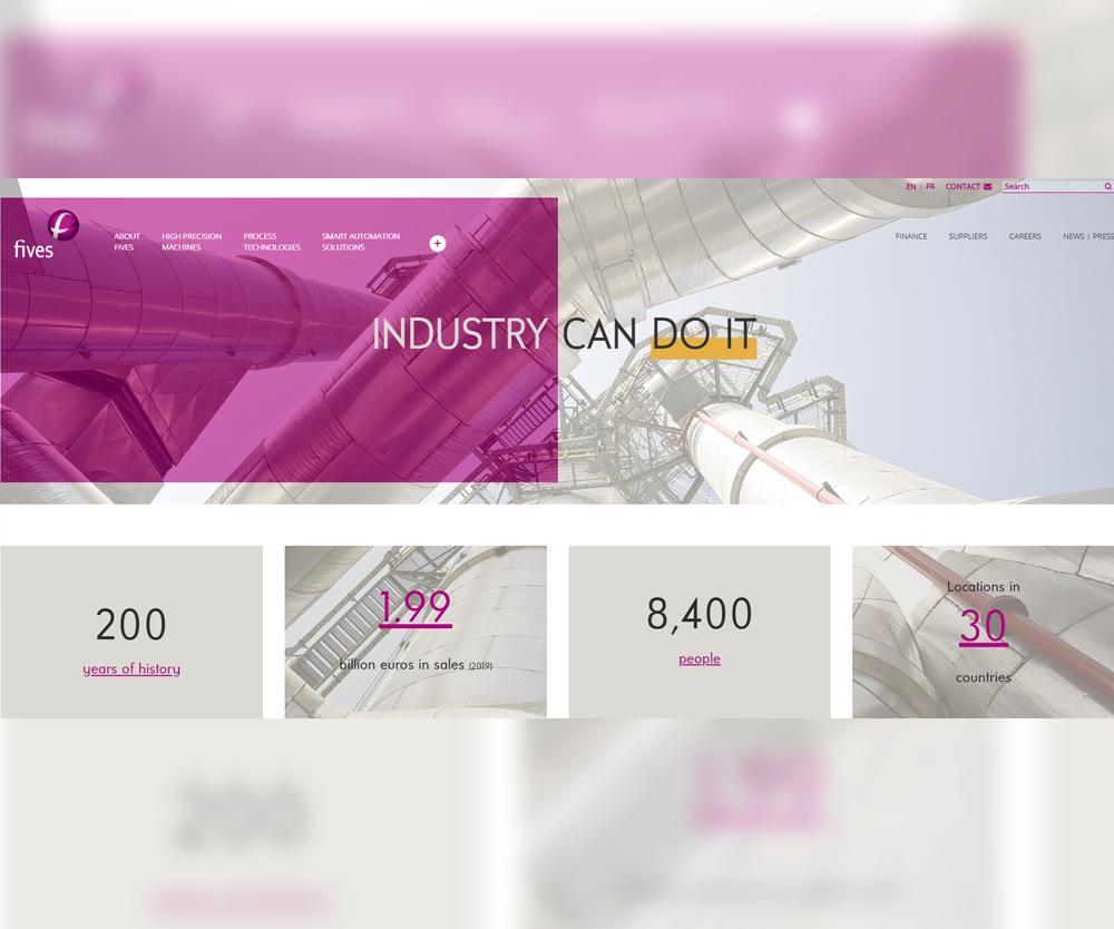 Nuevo diseño del sitio web de Fives.