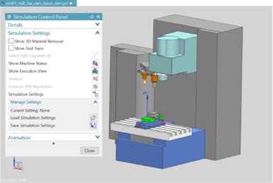 El software simula y verifica el código G en Siemens NX.
