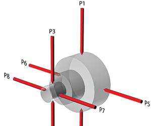 Una configuración de sonda de medidor para realizar una medición de concentricidad.