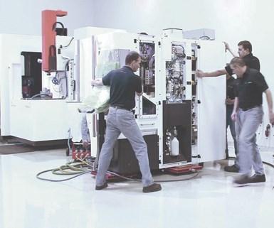 El sistema de desplazamiento neumático AeroGo se ajusta al tamaño de la máquina y puede moverse omnidireccionalmente.