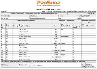 Los informes AS9102 se pueden obtener de forma fácil y rápida en ProShop.