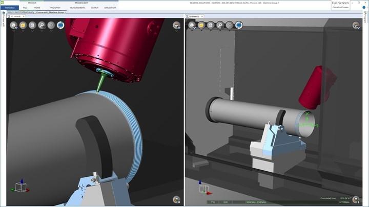 Estas dos capturas de pantalla muestran cómo Marton Precusion utiliza el software de simulación NCSIMUL Machine para simular, verificar, optimizar y revisar los programas de mecanizado.