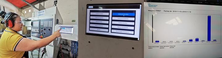 Una vez la operaria selecciona el motivo de parada de la máquina en la pantalla táctil, la información es almacenada y graficada, y puede consultarse para su análisis en cualquier dispositivo conectado con el servidor web.