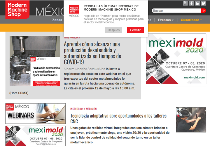 Notiticaciones Push Modern Machine Shop México.