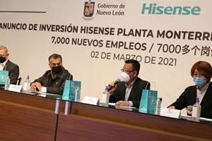 Hisense anunció una inversión por 260 millones para la construcción de una planta de manufactura de electrodomésticos en Nuevo León.
