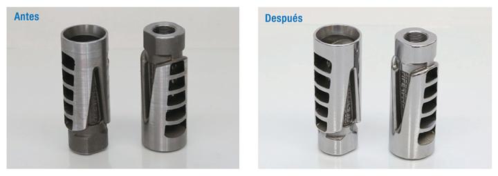 Como se puede ver en estos frenos de boca, el acabado con barril permite obtener un excelente acabado en partes complejas con agujeros profundos y características irregulares.