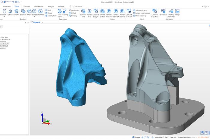 La solución de software Recreate está diseñado para simplificar la ingeniería inversa desde el escaneo metrológico hasta el modelo CAD.