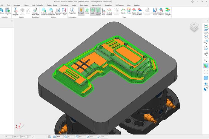 PowerMill2022 ofrece herramientas de programación de tres y cinco ejes para la producción de piezas complejas.