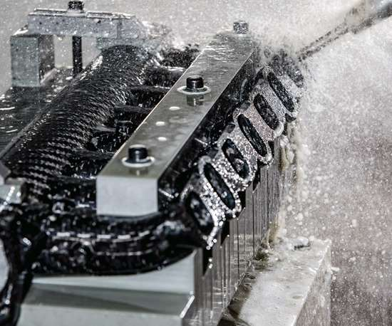 wet machining a composite part