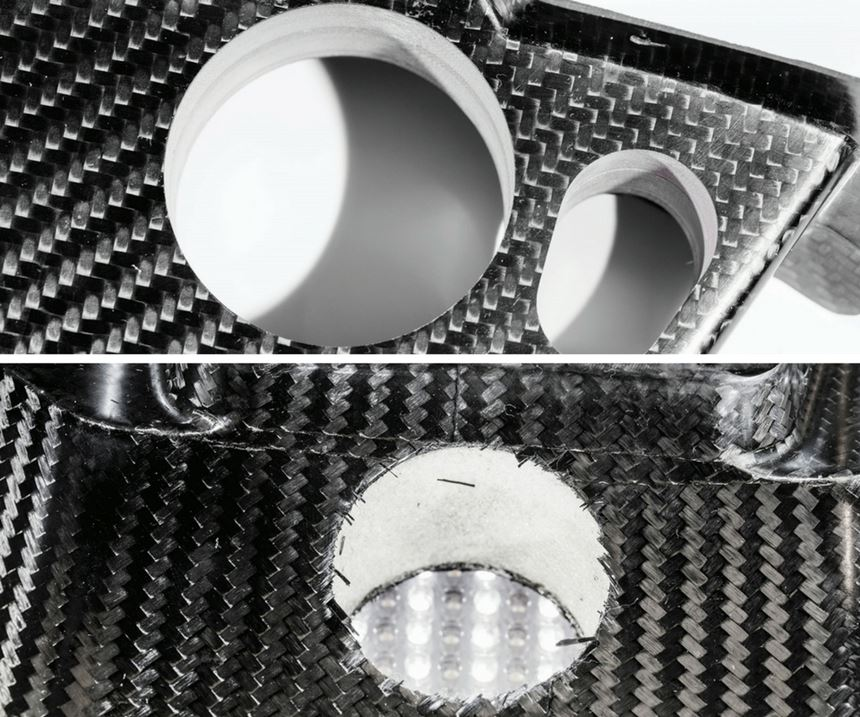 holes made with and without coolant
