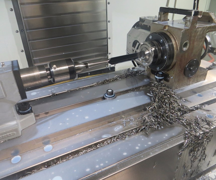 chisel part on a lathe and bar feeder