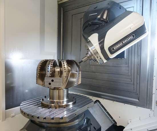machine working around a rock drilling head