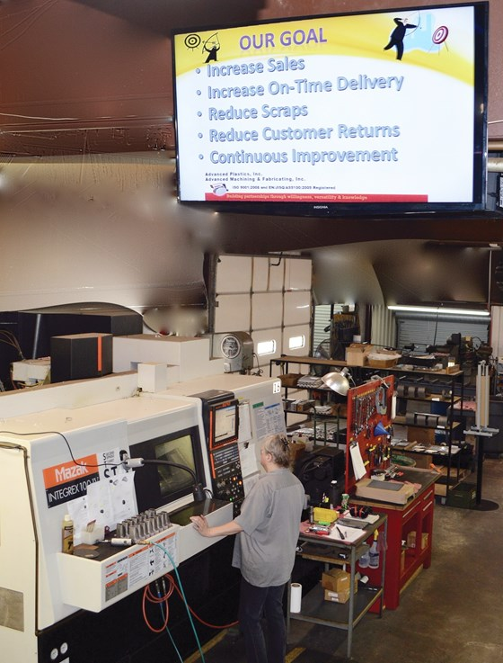 large screen display in a machine shop