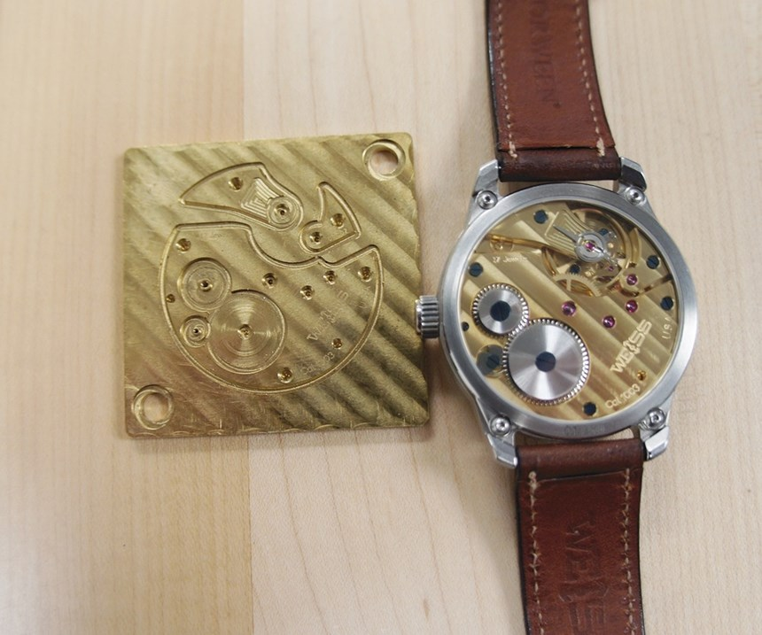 an in-process workpiece and a finished watch