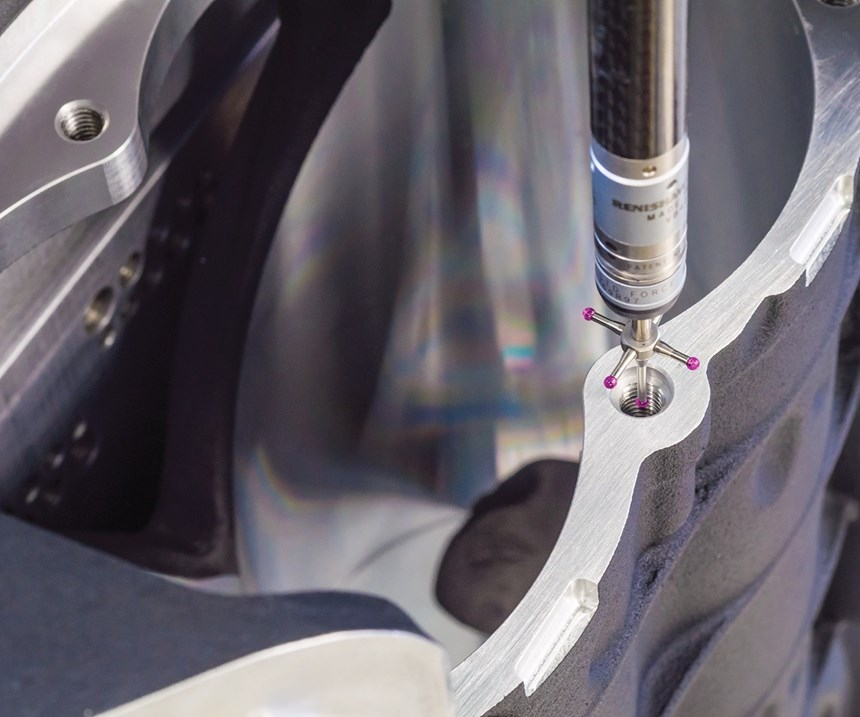 touch probe in a machined hole