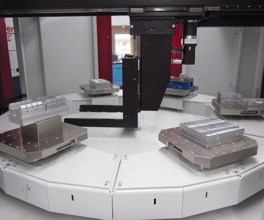 a pallet carousel for the five-axis machine