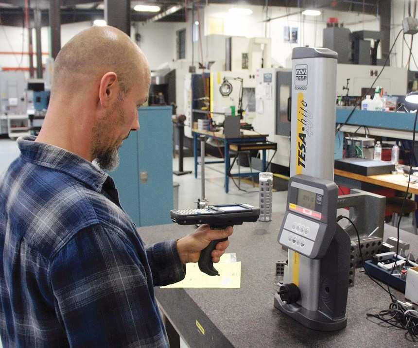 scanning a barcode on a height gage