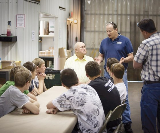 Matt Guse chats with high school students