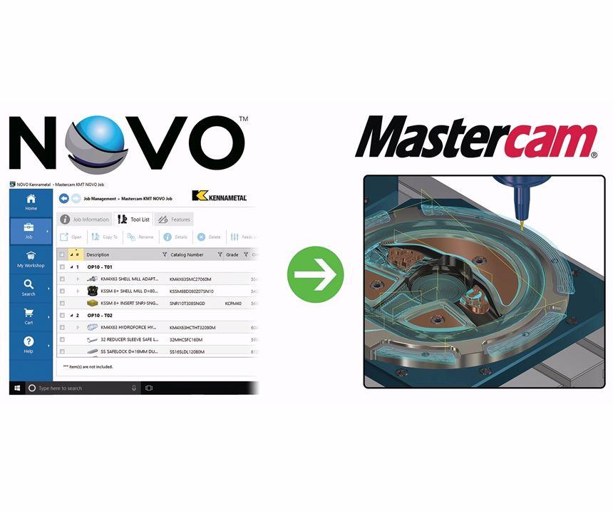 Screenshots of Novo and Mastercam