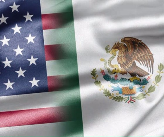 United States and Mexico flags