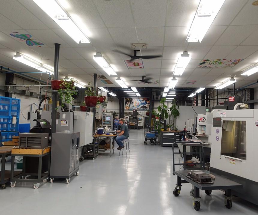 View of L&S Machine showing various plants above shop floor