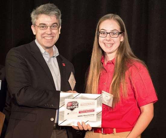 MRS Machining future employee accepts Top Shops award