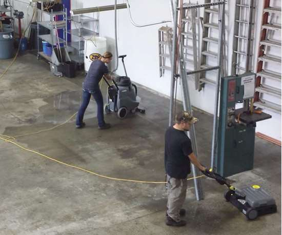 polishing floor in manufacturing facility