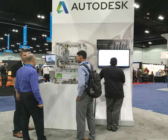 BeAM demo laser metal deposition machine in Autodesk booth at Westec 2017