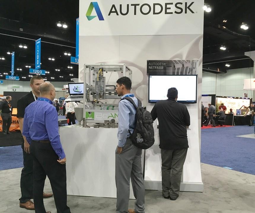 BeAM demo laser metal deposition machine in Autodesk booth at Westec 2017