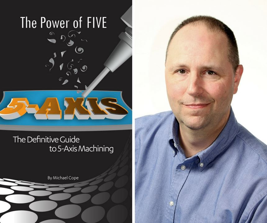 Michael Cope with the cover of his book about five-axis machining