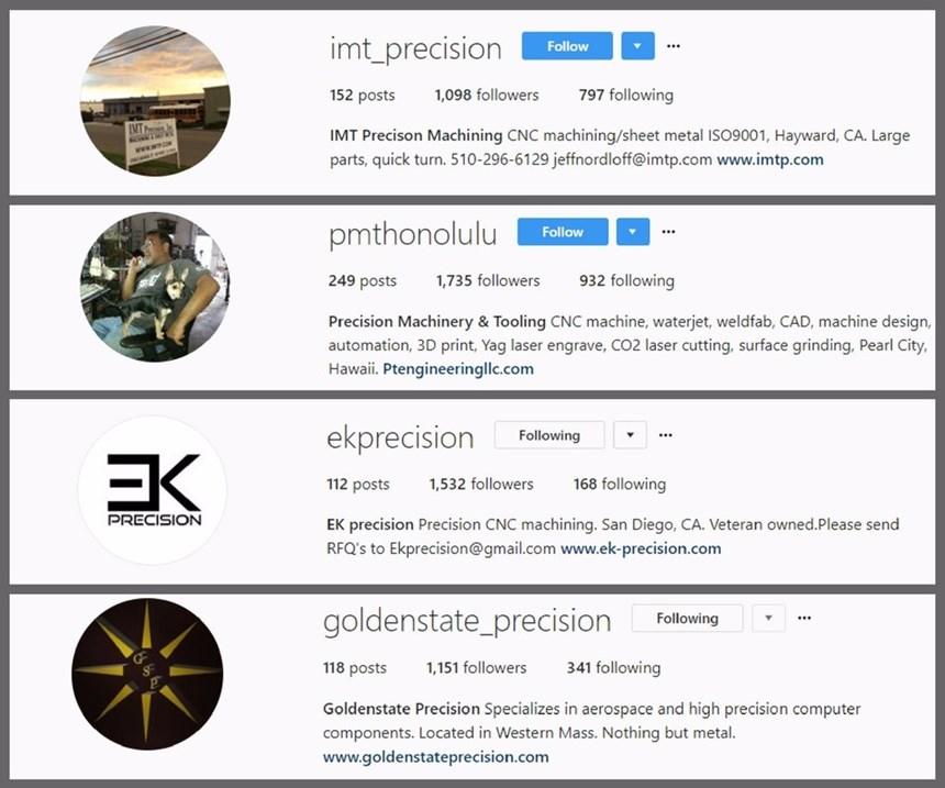 four screenshots of machine shops' profile information on Instagram