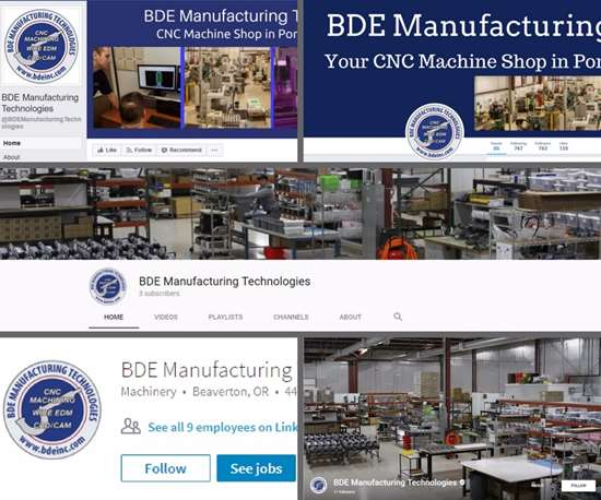 collage of BDE Manufacturing Technologies' social media branding