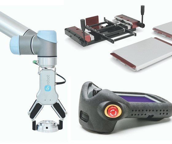 robot gripper, pallet changer and shock-absorbing case collage
