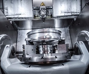 a trunnion table in a five-axis machining center