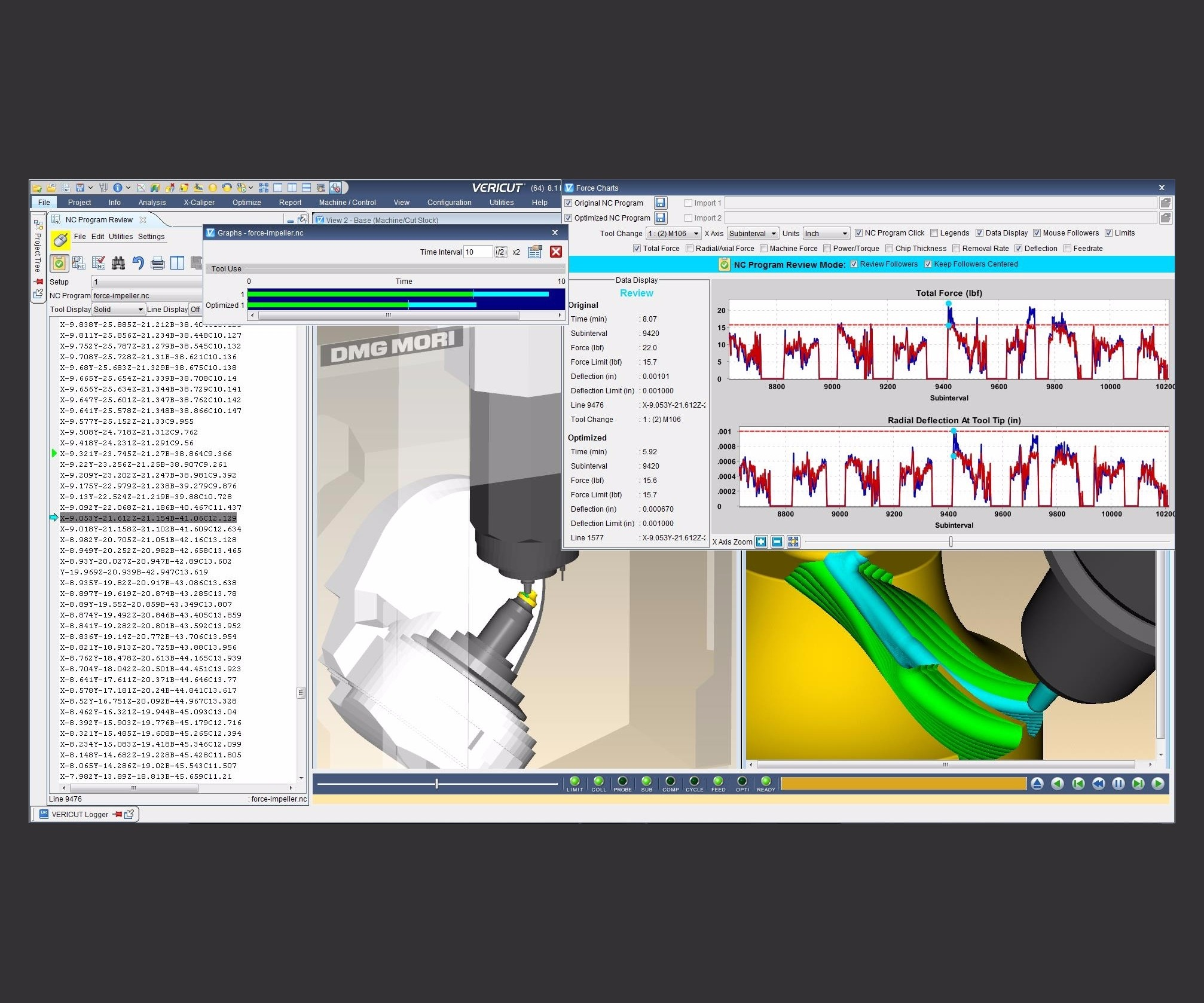 Screenshot of CNC machine simulation, verification and optimization software