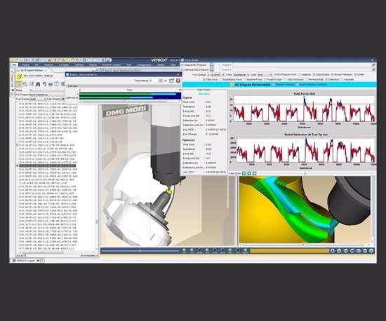 Screenshot of CNC machine simulation, verification and optimization software