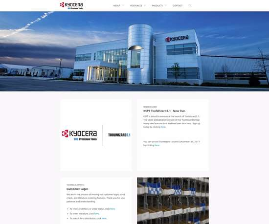 Kyocera SGS Precision Tool's new homepage