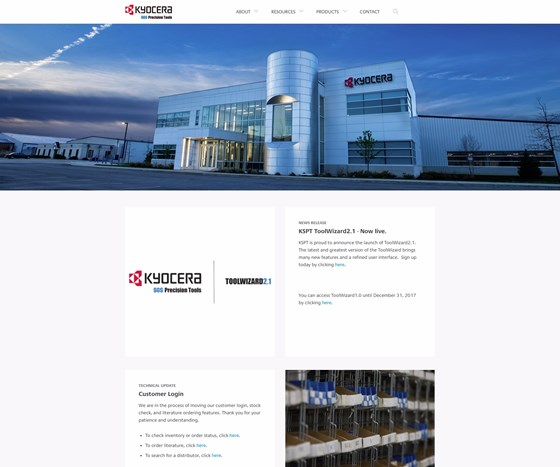 Kyocera SGS Precision Tool's new homepage