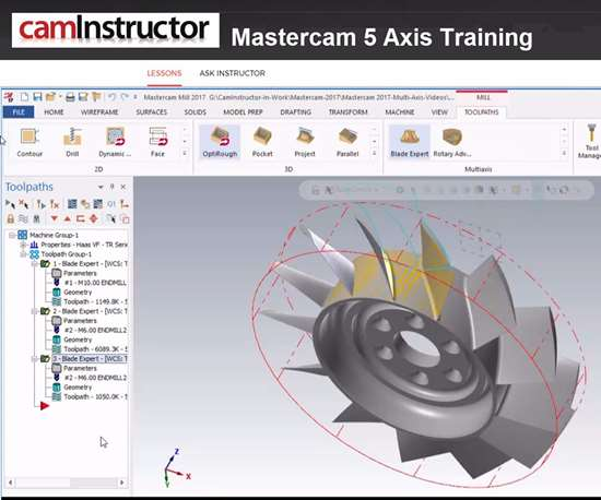 screenshot of online Mastercam course