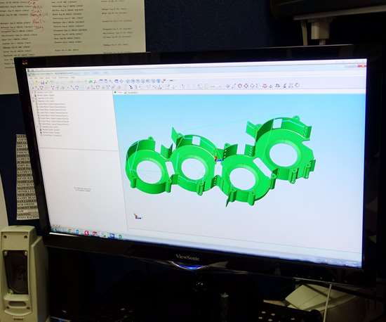 Solid model of a part on computer screen