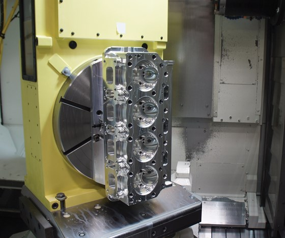 cylinder head in a machining center