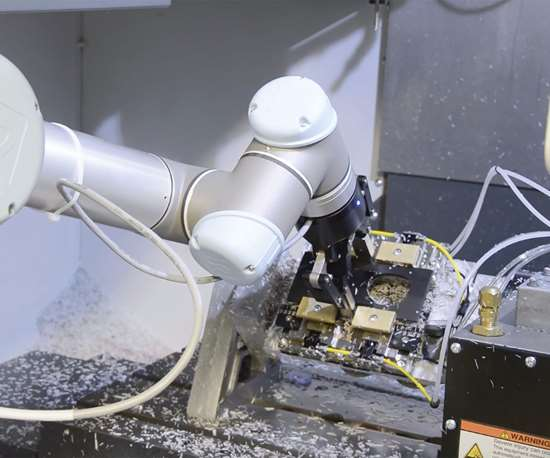 robot arm with a workpiece